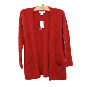 Womens Open Front Knit Red Cardigan with Pockets